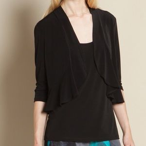 Clara Sunwoo Ruffle Bolero Black 3/4 Sleeves Small